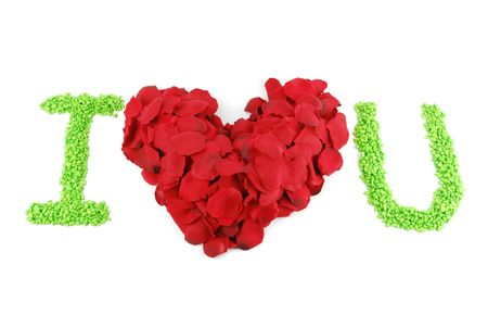 I LOVE U with a beaufiful red heart made of rose petals (isolated on white background)