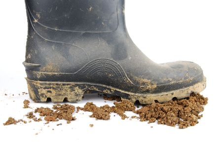 one muddy farmer boot and soil isolated on a white background Stock Photo - 6301708