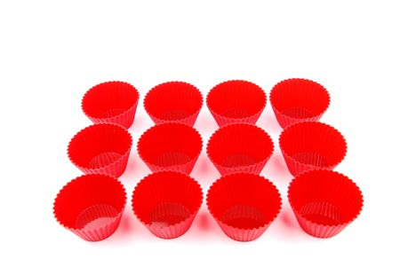 throwaway: display of red plastic cups isolated on white background