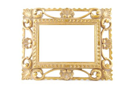 gold vintage metal frame isolated on white background photo