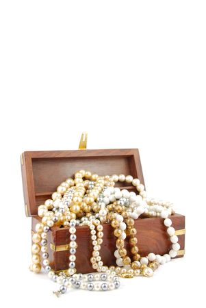 jewel box with pearl necklaces isolated on white background photo
