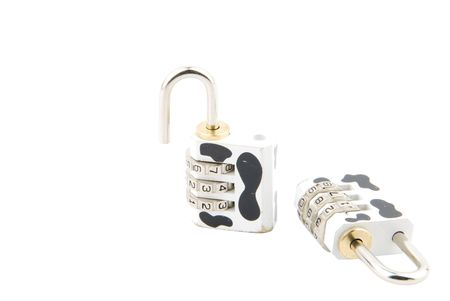 cow pattern combination padlock (closed and open) isolated on white background