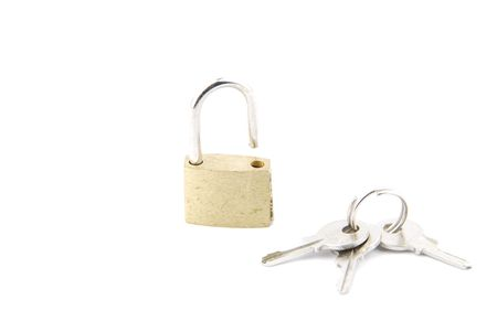 golden open padlock with keys isolated on white background Stock Photo - 6380902