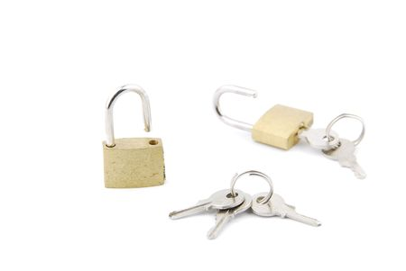 two open padlock with keys isolated on white background Stock Photo - 6380906
