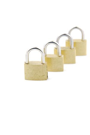 golden closed padlocks isolated on white background (focus on the first) Stock Photo - 6380907