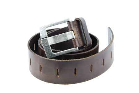 brown leather belt isolated on white background Stock Photo - 6449641
