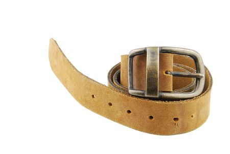 camel/brown leather belt isolated on white background Stock Photo - 6449657