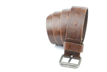 brown leather belt isolated on white background Stock Photo - 6449644