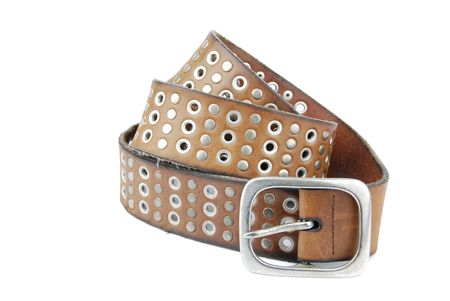 brown leather belt isolated on white background Stock Photo - 6449659
