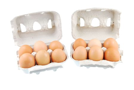 two dozen fresh eggs in a recycled box (isolated on white background)  photo