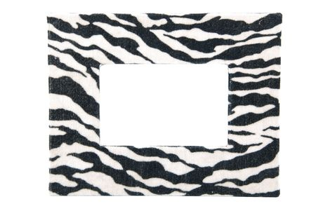 zebra fabric cloth photo-frame isolated on white background photo