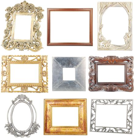 carve: 9 different woodenmetallic frames isolated on white background Stock Photo