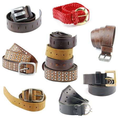 set of different leather belts isolated on white background Stock Photo - 6619810