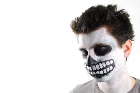 portrait of a creepy skeleton guy perfect for Carnival (isolated on white) photo