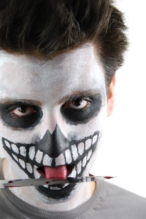 portrait of a skeleton guy as a murderer concept Stock Photo - 6615676