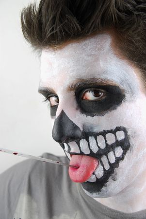 portrait of a skeleton guy as a murderer concept Stock Photo - 6615684