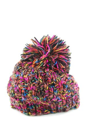 colorful winter knit hat isolated on white background