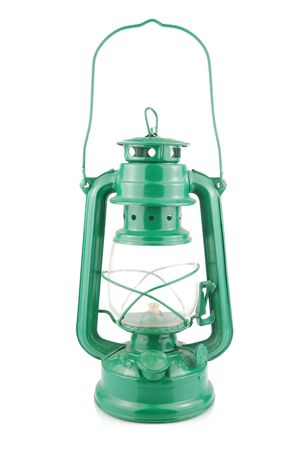 green kerosene lamp isolated on white background