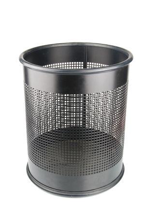 wastepaper basket: empty black wastepaper basket isolated on white background