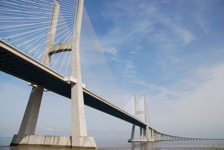 tagus: longest bridge in Europe known as Vasco da Gama (over the Tagus river)