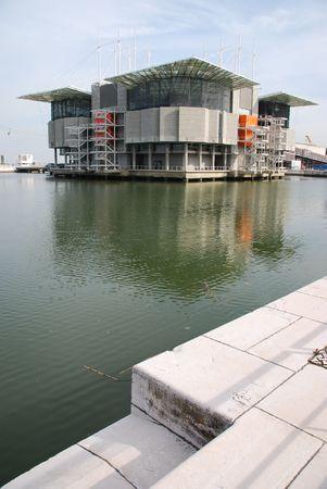 oceanarium: modern Oceanarium building in Nations Park at Lisbon, Portugal Stock Photo