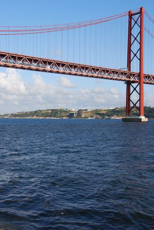 view of old Salazar bridge in Lisbon, Portugal photo