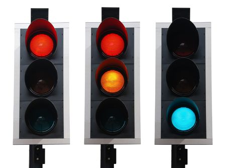 traffic control: set of british traffic lights isolated on white background