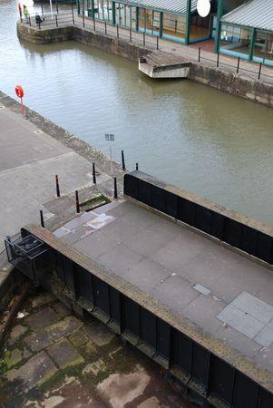 rotative: beautiful Gloucester docks with a antique rotative bridge
