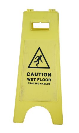 yellow caution sign regarding slippery surface isolated on white background Stock Photo - 6914254