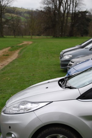 car parking row at the beautiful and british countryside photo