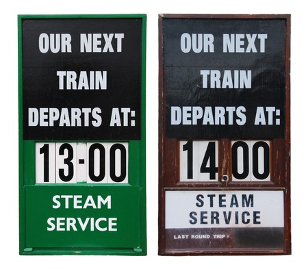 informational: beautiful antique train informational wooden placards