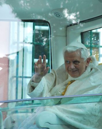 reigning: LISBON - MAY 11: 2010 Pope Benedict XVI, born Joseph Alois Ratzinger is the 265th and reigning Pope, he succeeded Pope John Paul II on May 11, 2010 in LISBON, PORTUGAL.  Editorial