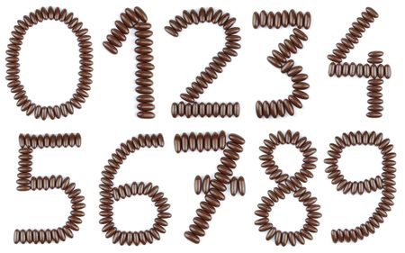 beautiful collection of numbers from 0 to 9 with chocolate candies (isolated on white background) photo