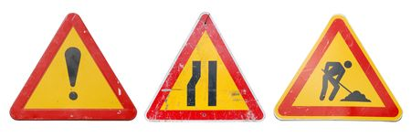 three temporary construction signs isolated on white background Stock Photo - 7016134