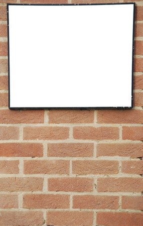 empty billboard on a beautiful brick wall building photo