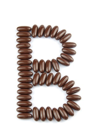 alphabet letter B with chocolate candies (isolated on white background) Stock Photo - 7195606