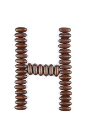 alphabet letter H with chocolate candies (isolated on white background) Stock Photo - 7195596