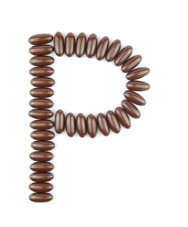 alphabet letter P with chocolate candies (isolated on white background) Stock Photo - 7195589