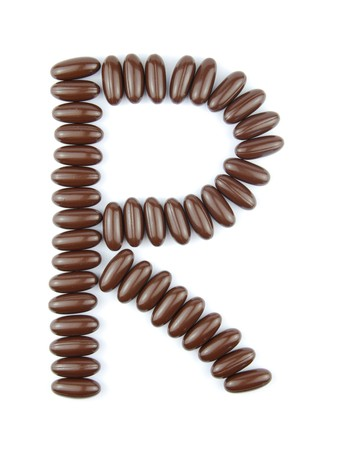 alphabet letter R with chocolate candies (isolated on white background) Stock Photo - 7195605