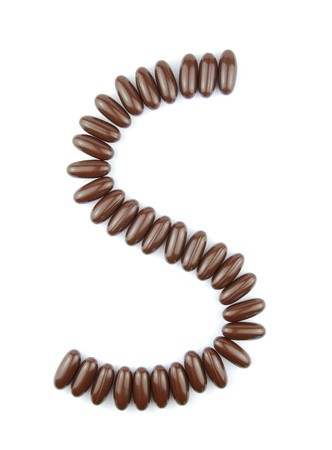 alphabet letter S with chocolate candies (isolated on white background) Stock Photo - 7195584