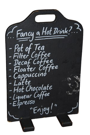 menu board with hot drinks (isolated on white background) photo