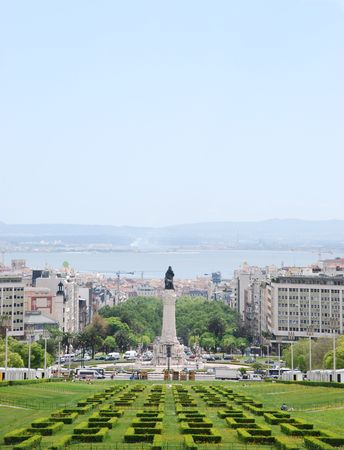 eduardo: beautiful view of Eduardo VII park, Marques do Pombal square and Tagus river on the background, Lisbon (Portugal) Stock Photo