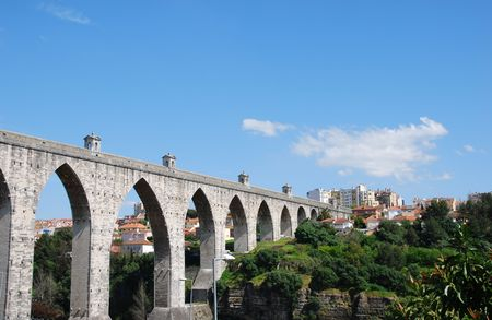 lisbon: historic aqueduct in the city of Lisbon built in 18th century, Portugal
