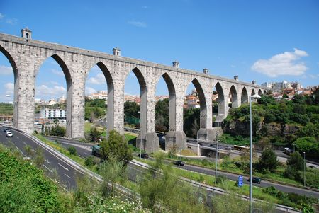 historic aqueduct in the city of Lisbon built in 18th century, Portugal photo
