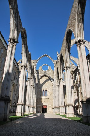 famous Carmo Church ruins after the earthquake in 1755 in Lisbon, Portugal photo