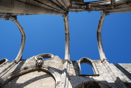 chiado: famous Carmo Church ruins after the earthquake in 1755 in Lisbon, Portugal