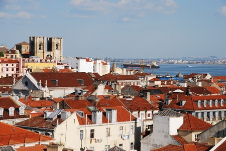 beautiful cityscape of Lisbon with Sé Cathedral, Portugal