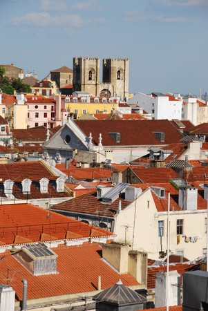 beautiful cityscape of Lisbon with S� Cathedral, Portugal photo