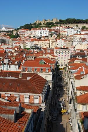 jorge: beautiful cityscape of Lisbon with Sao Jorge Castle, Portugal Stock Photo