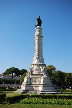 discoverer: famous discovery statue of Vasco da Gama in Lisbon, Portugal (portuguese discoverer of the maritime way to India) Stock Photo